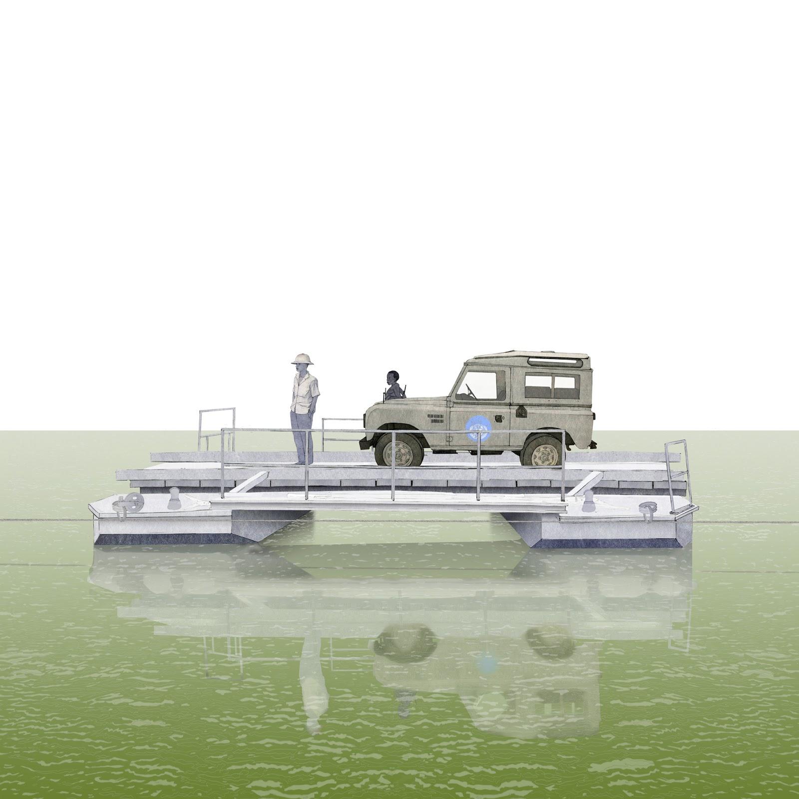 puente flotante, barcaza, Carsi , Land Rover, dibujo,