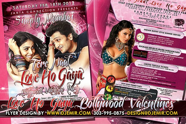 Love Ho Gaya Bollywood Valentine's Day Flyer Design San Jose, California