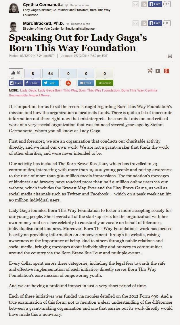 Lady Gaga, Born This Way Foundation