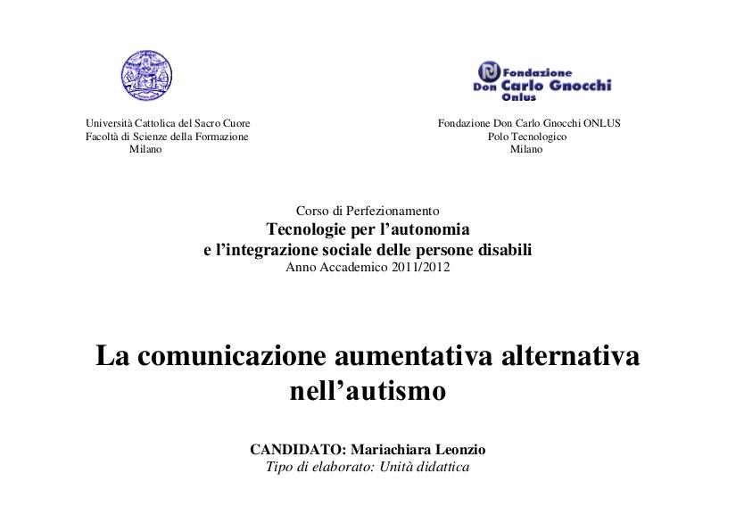 Sardiniaweb la comunicazione aumentativa alternativa nell for Tesi autismo e gioco