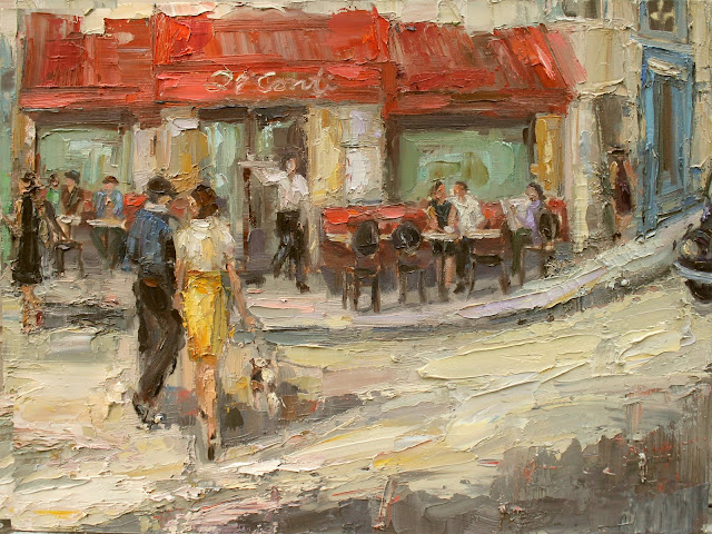 cafe scenes, kathryn morris trotter, fashion paintings by kathryn morris trotter, www.kathryntrotterart.com,