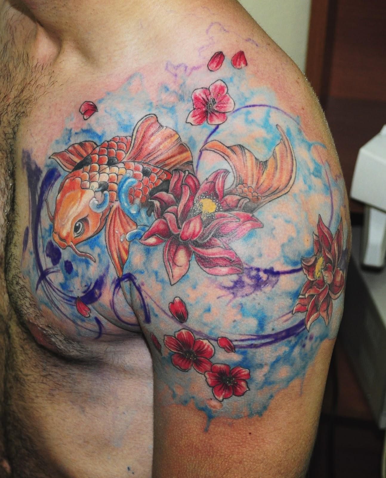 Painful tattoo areas amazing watercolour tattoos for Koi carp tattoo colours