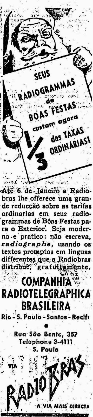Propaganda para envio de Radiogramas (telegramas via rádio) em 1940. Campanha para época natalina.
