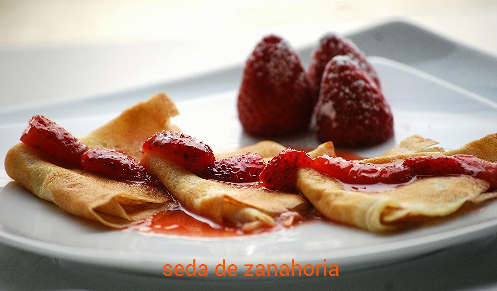 Seda de zanahoria crepes con salsa de fresa for Salsa para crepes
