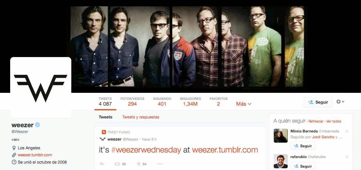 Weezer - nuevo diseño Twitter