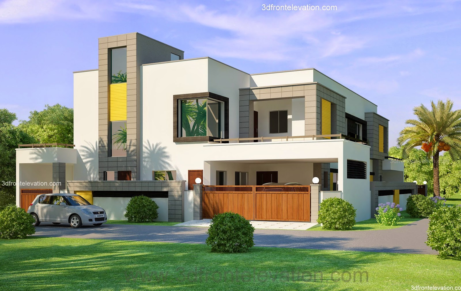 3d front 1 kanal corner plot 2 house for Contemporary indian house elevations
