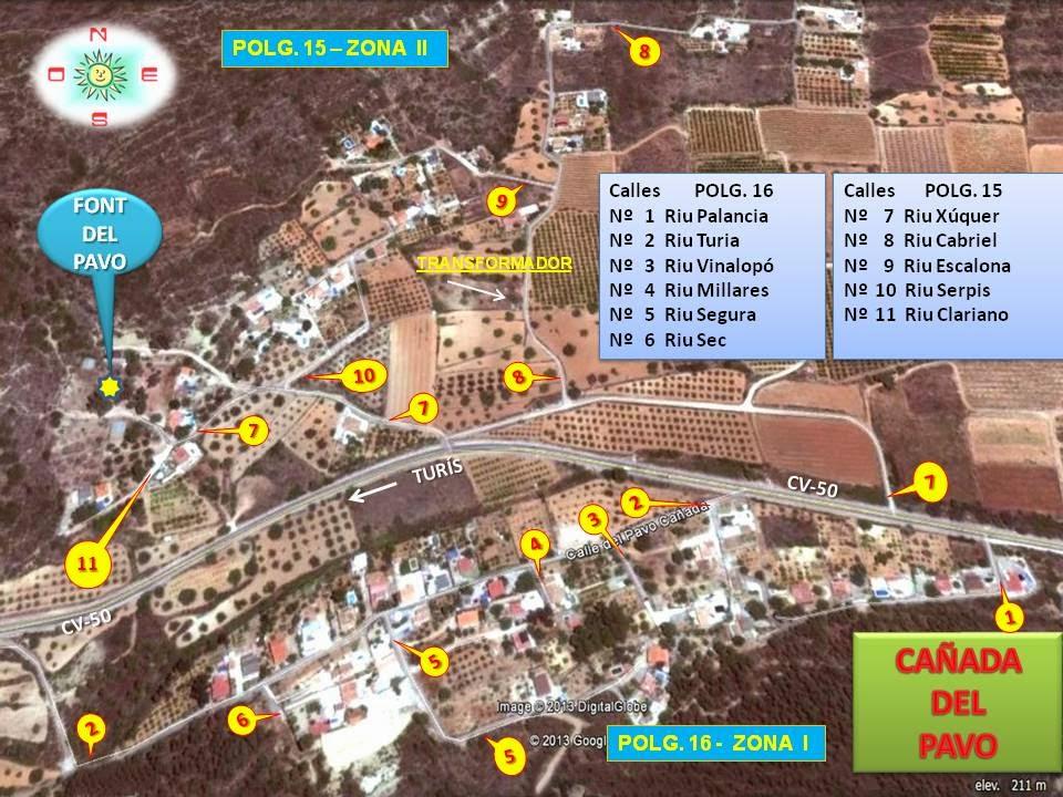 Plano de las calles de la Cañada del Pavo