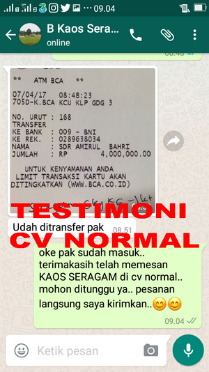 TESTIMONI PEMBELIAN KAOS SERAGAM CV NORMAL