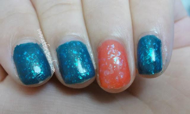 dark blue and pink flakies nails using Sasatinnie and pa nail polishes