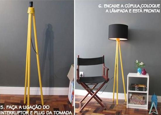 luminaria de piso, upcycling, reciclagem, luminaria com cabo de vassoura