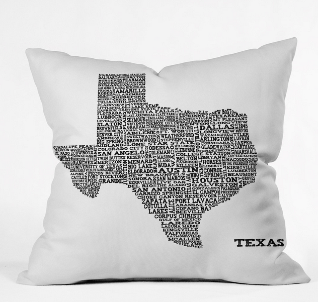 TEXAS MAP Throw Pillow By Restudio Designs