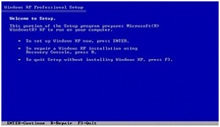 Pilihan Install atau Repair Windows XP