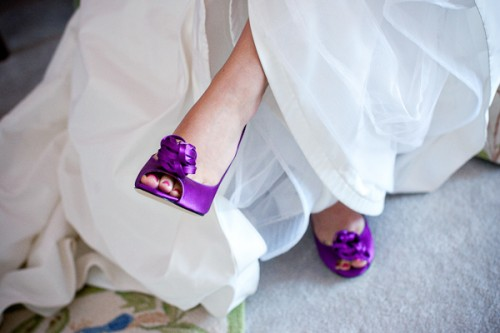 what A stunning wedding in purple shoes color