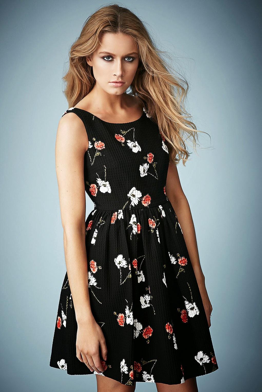 kate moss black floral dress