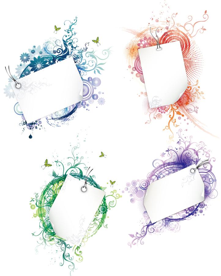 植物の縁飾りがお洒落なフレーム frame floral swirls イラスト素材