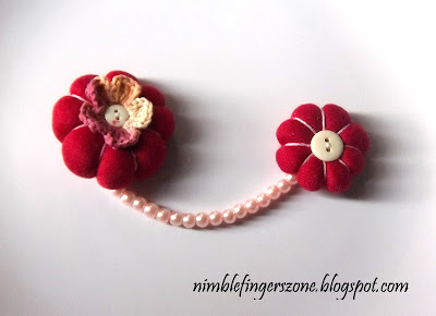 red chain brooches, red brooch, red fabric brooch