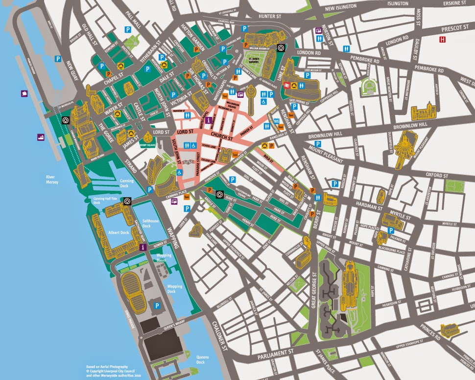 Liverpool UK city center map