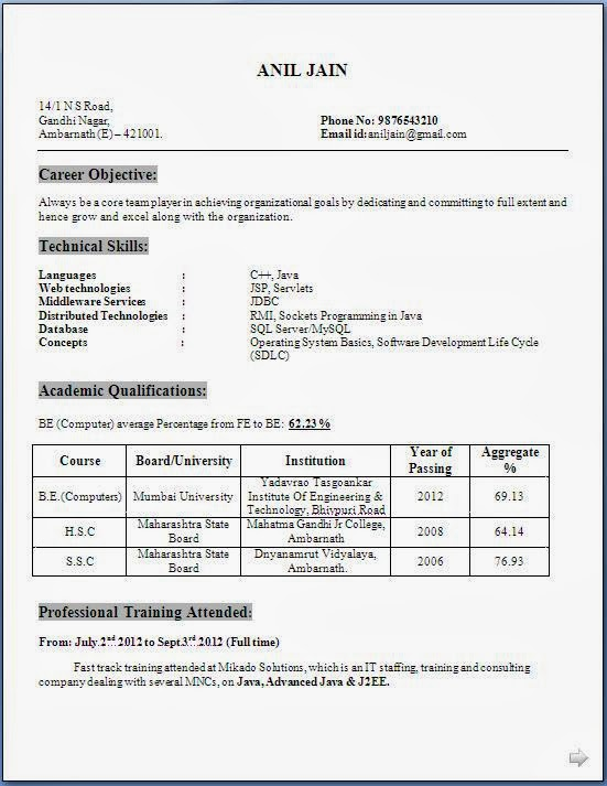 download resume templates - Sample Resume For Bcom Computers Freshers