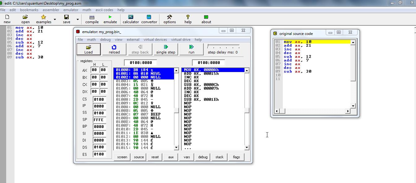 using emu8086 emulator