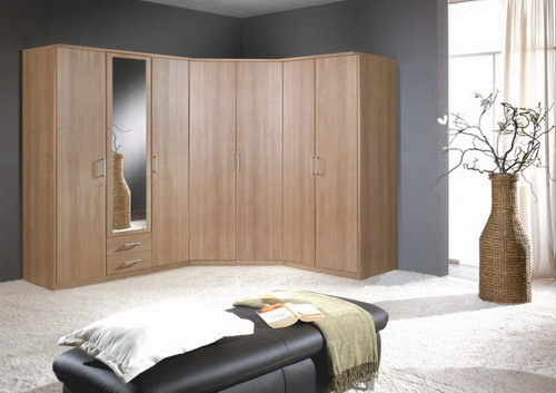 Elegant wooden corner wardrobe bedroom furniture