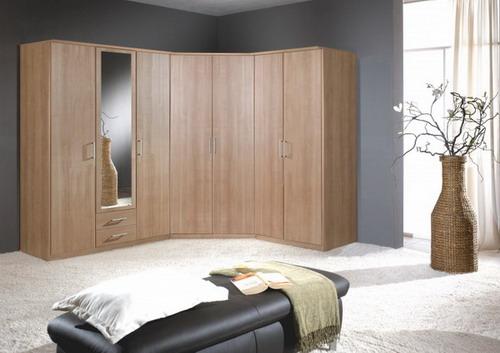 Elegant wooden corner wardrobe bedroom furniture