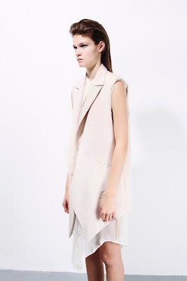 Vest, cream and white