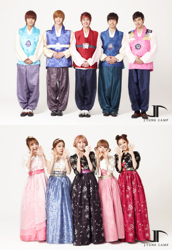 [NEWS] 130207 MBLAQ and Two X greet fans in hanbok for Lunar New Year Mblaq_twox