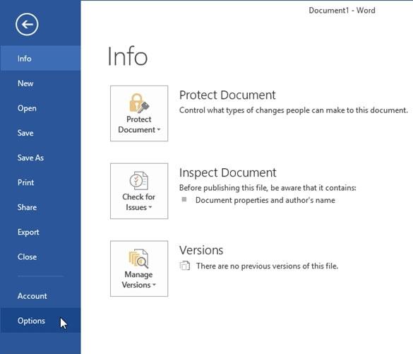 Bỏ qua tùy chọn nơi lưu trữ tập tin Office 2013 2