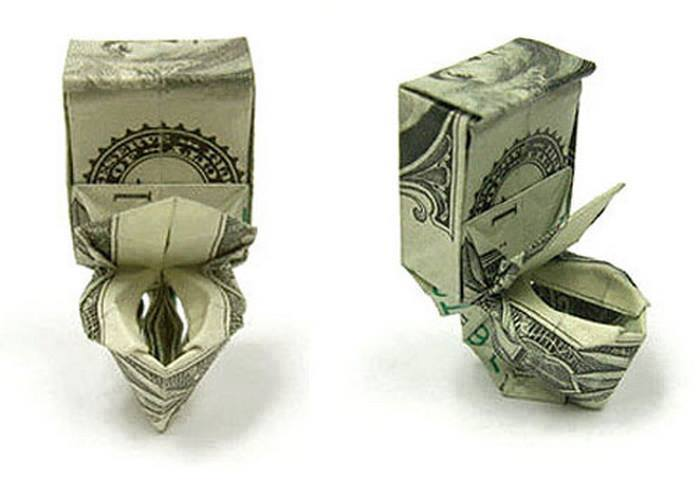 Origami Dollar bentuk toilet