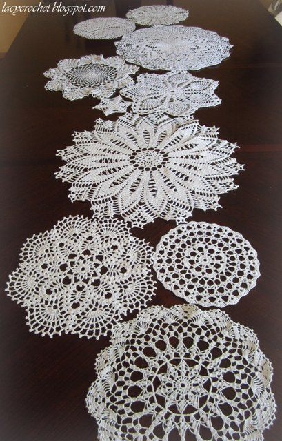 Crochet Patterns Lace Table Runners : Lacy Crochet: Doily Mix Table Runner