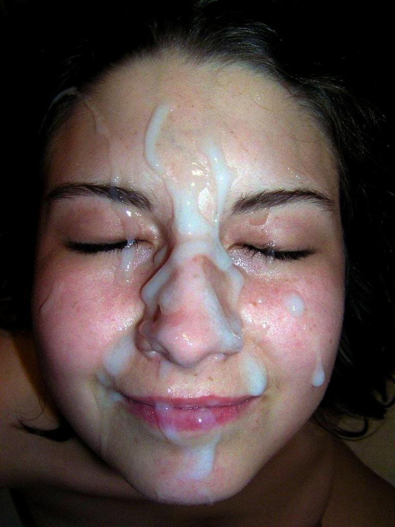 Huge cum load facial girl