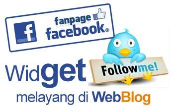 Cara Membuat FanPage Facebook dan Follower Twitter Melayang di WebBlog