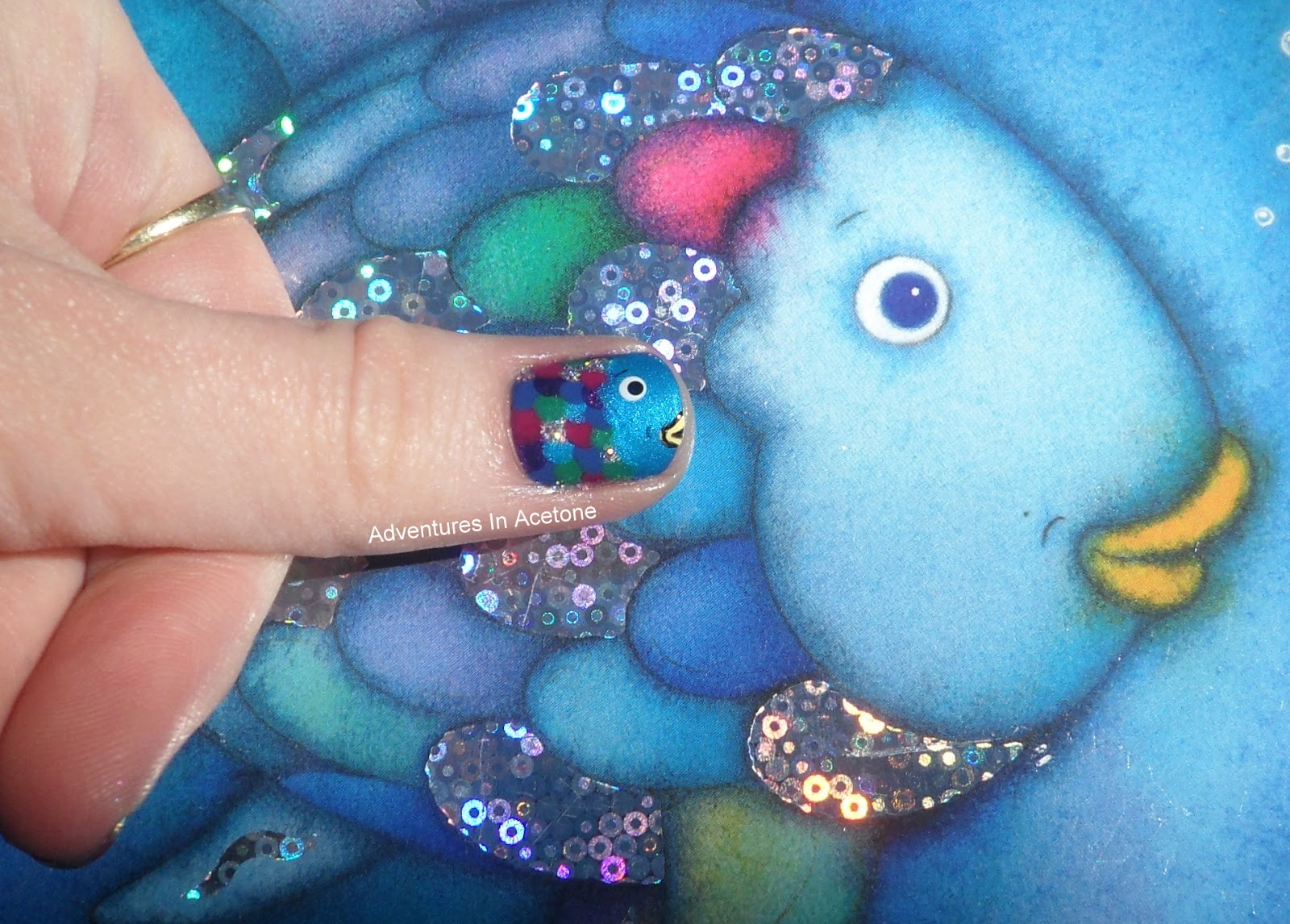 Day 2 rainbow fish nails adventures in acetone for The rainbow fish