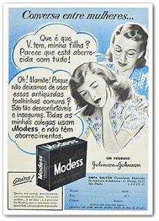 Propaganda do Modess nos anos 40: quebra de tabus no diálogo da higiene íntima.