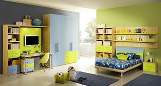 dormitorio para joven en verde y azul