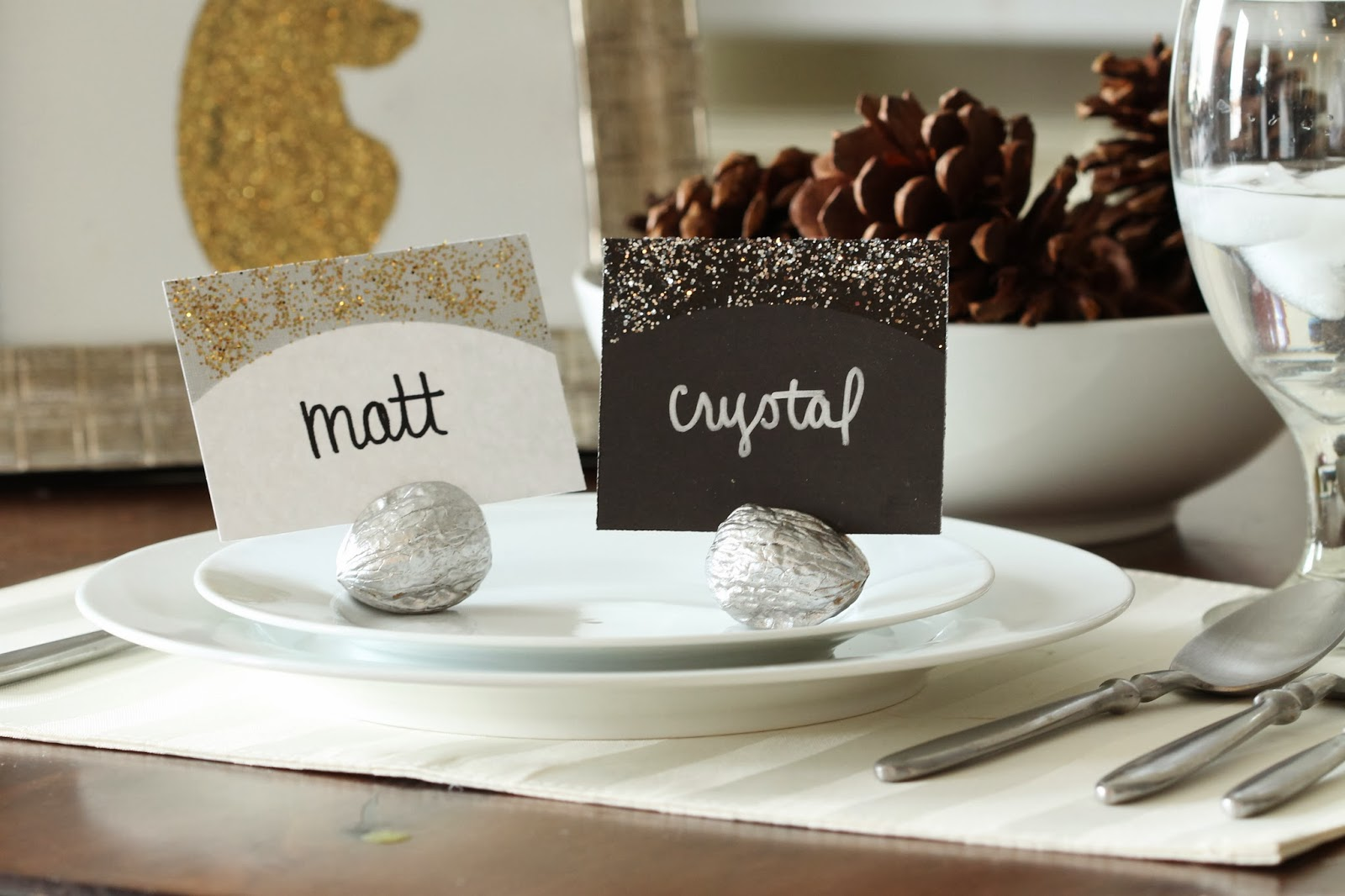 pass the fresh walnut name tag holders for your holiday place settings