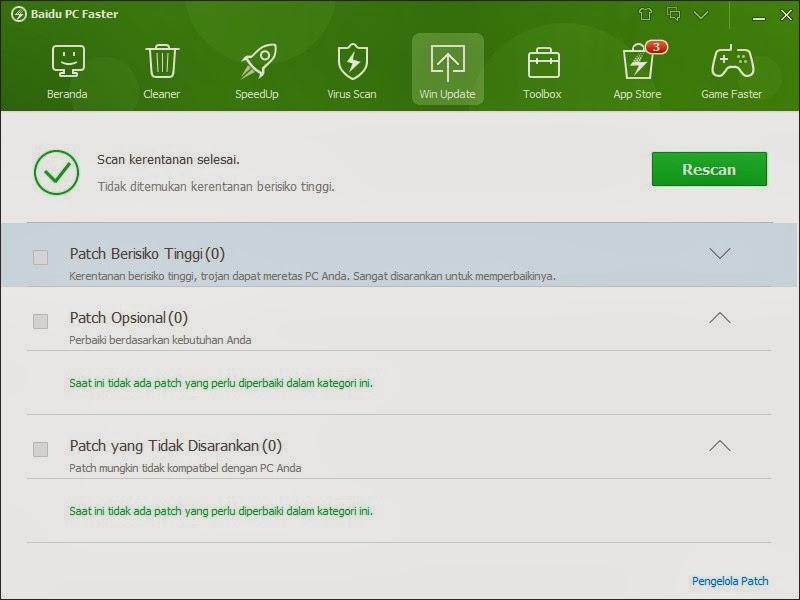 Fitur Win Update Baidu PC Faster