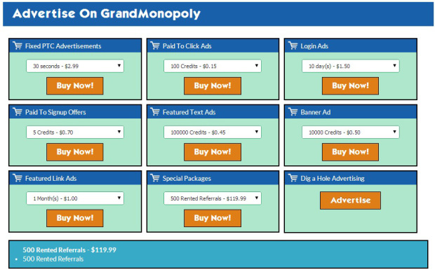 Grand Monopoly offers several low cost advertising options