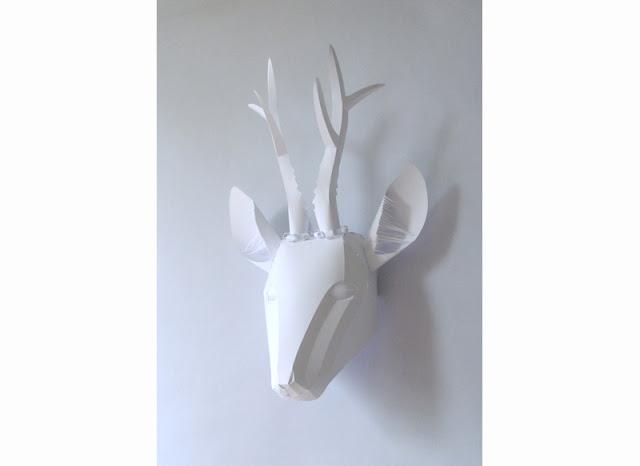 white paper deer head