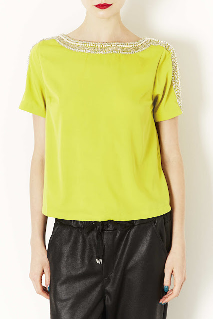 lime embellished top