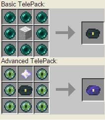 Crafteos del mod TelePacks Mod para Minecraft 1.8/1.8.8