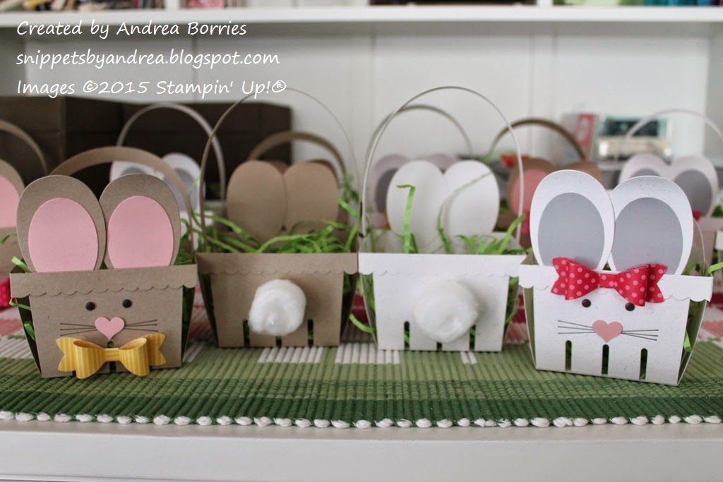 Front and back views of bunny baskets made with the Berry Basket die from Stampin' Up!