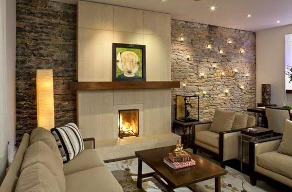 Decoration mur de pierre salon