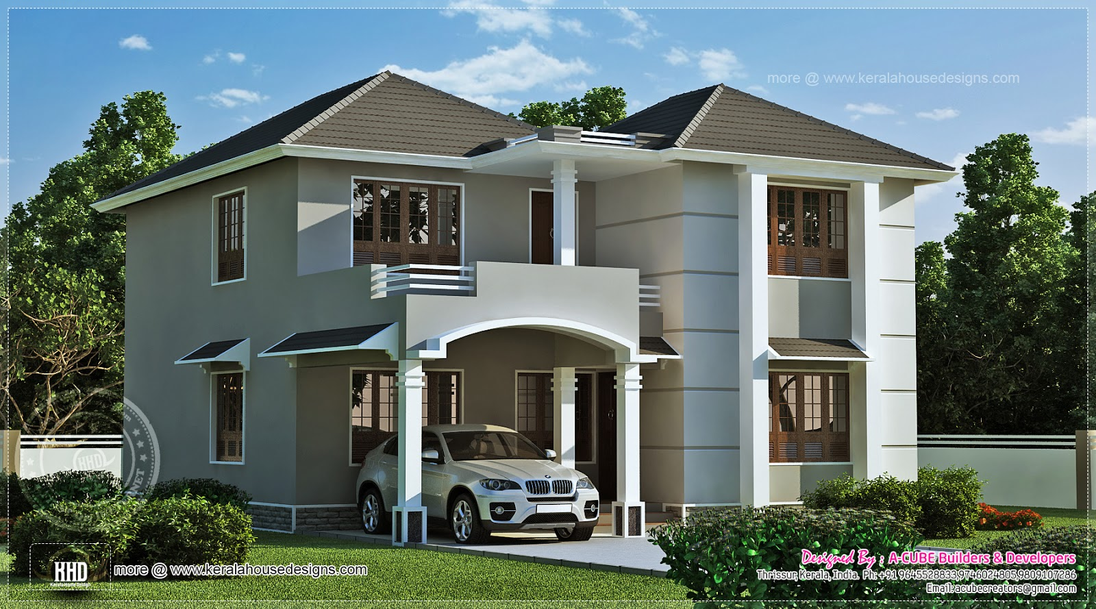 1962 square feet home exterior kerala home design and for Indian home design photos exterior