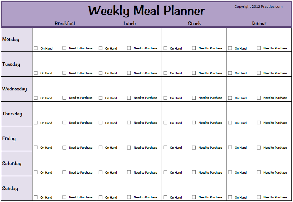 Practips free weekly meal planner for Free weekly meal planner template