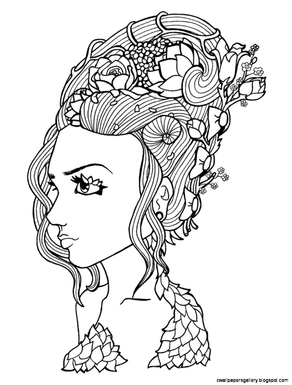 Mother Nature Drawing Black And White Sketch Coloring Page