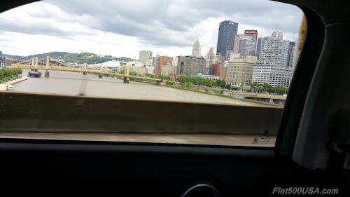 Pittsburgh from the Fiat 500X backseat