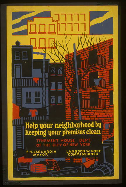 public health, new york, advertising, public service announcement, vintage, new york, vintage posters, poster, retro prints, classic posters, free download, graphic design, Help Your Neighborhood by Keeping Your Premises Clean - Vintage New York City Poster