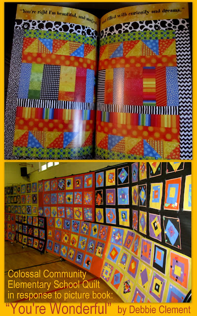 "photo of: Picture Book Response to ""You're Wonderful"" by Debbie Clement through graphic quilt collaboration"