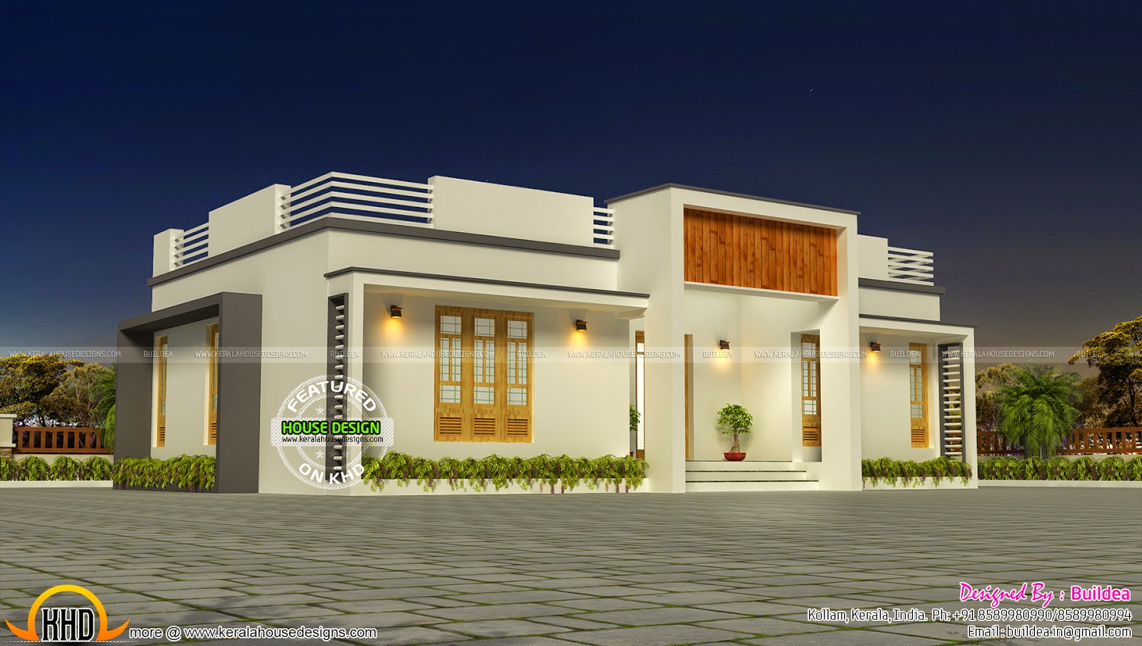 Free plan of contemporary home keralahousedesigns for Simple modern house models